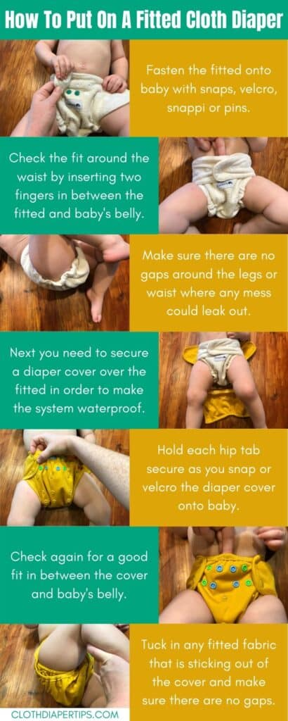 how to put on a fitted cloth diaper